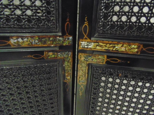 3 panel caned & paper mache paint decorated screen - 6