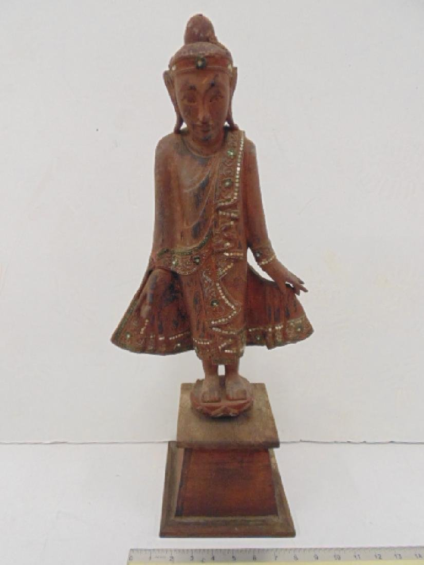 Chinese, Asian wood carved standing Buddha