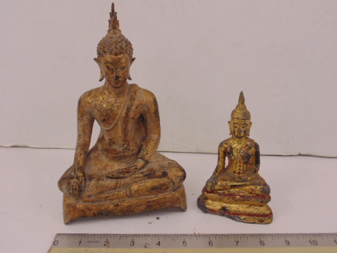 2 gilt bronze & Spelter Asian seated Buddha's