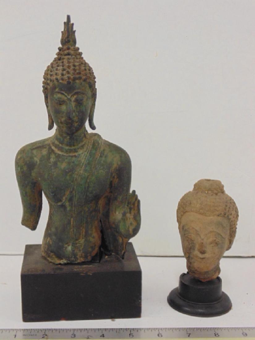18th Century Asian bronze Buddha & terra cotta