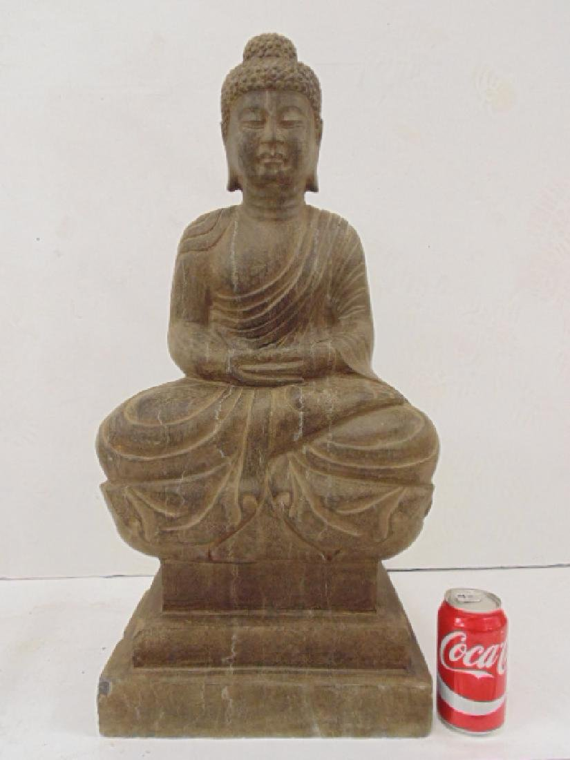 Chinese, Asian carved stone seated Buddha