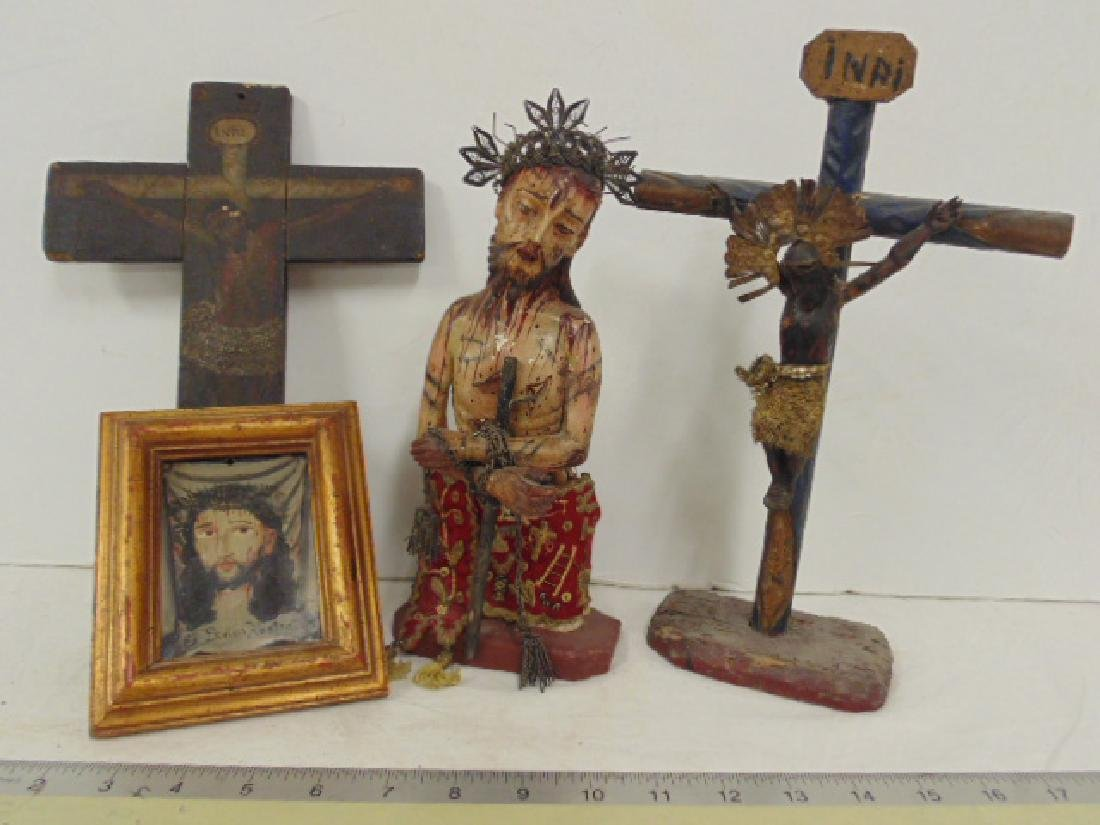 Religious lot Jesus,crucifix, statue of Jesus & small