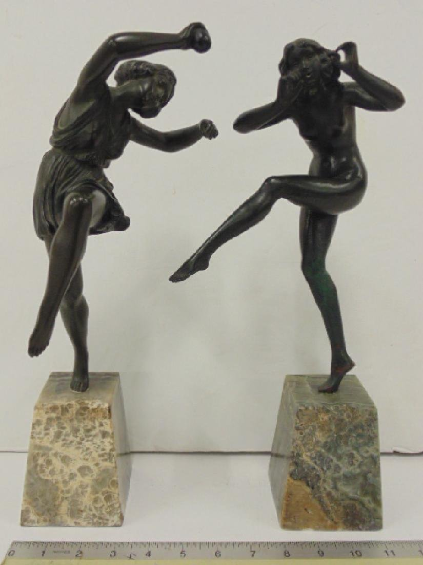Pair French art deco figural bronzes on onyx bases