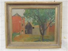 Painting, farm with silo, barns, unsigned, pencil