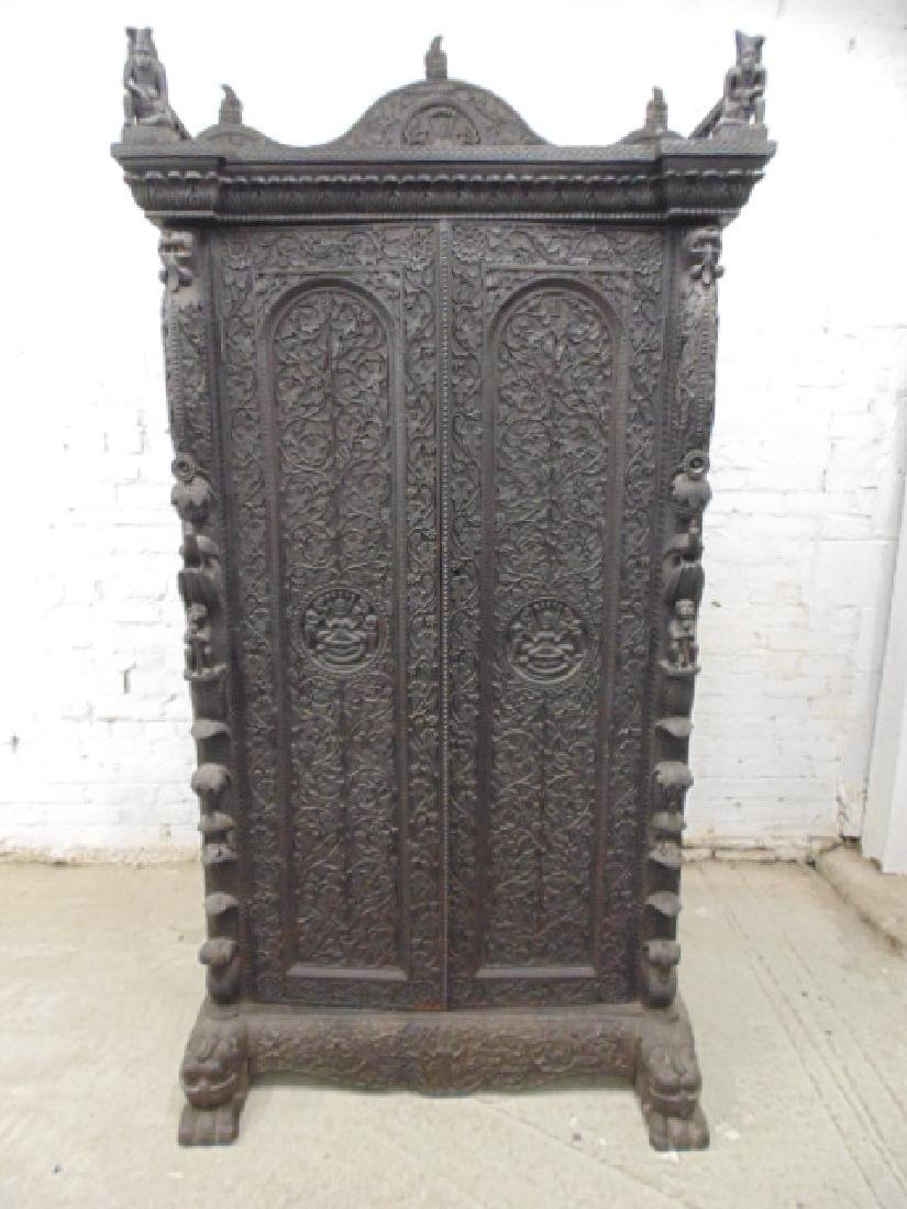 Finely carved Indian cabinet, solid rosewood, double