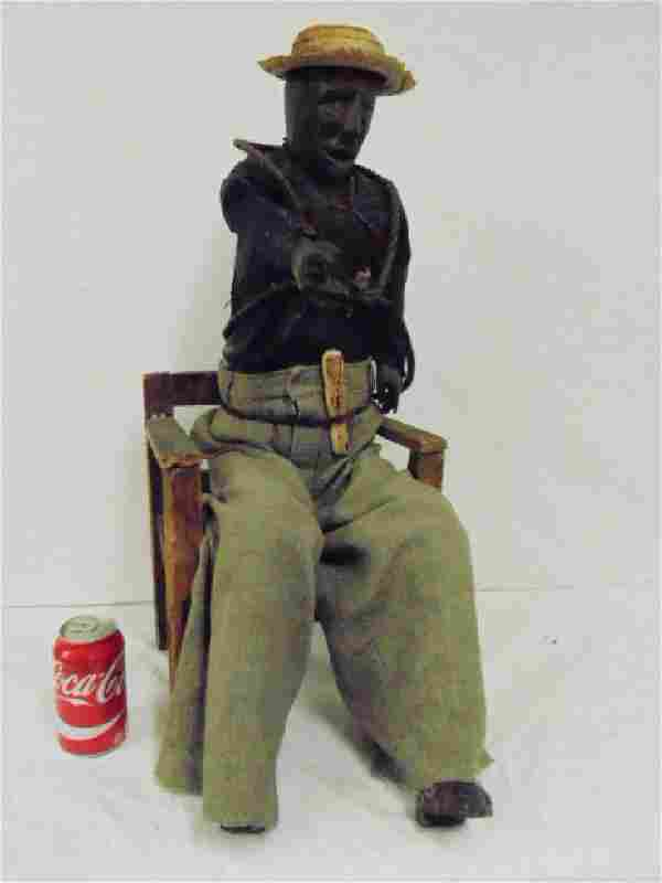 Mexican, folk art carved wood anatomical figure of man