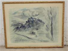 """Ink wash painting, """"High Winds"""", signed Franz Bueb 1953"""