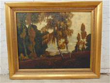 Painting, landscape with trees, signed, Bodo Odebrecht