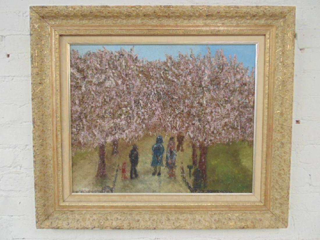 Painting, blossoming orchard, Lawrence Rothbort