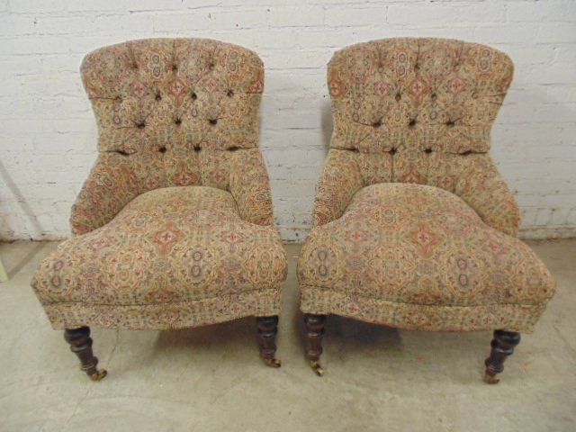 Pair Victorian style tufted upholstered chairs