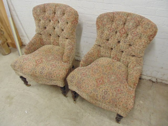 Pair Victorian style tufted upholstered chairs - 2
