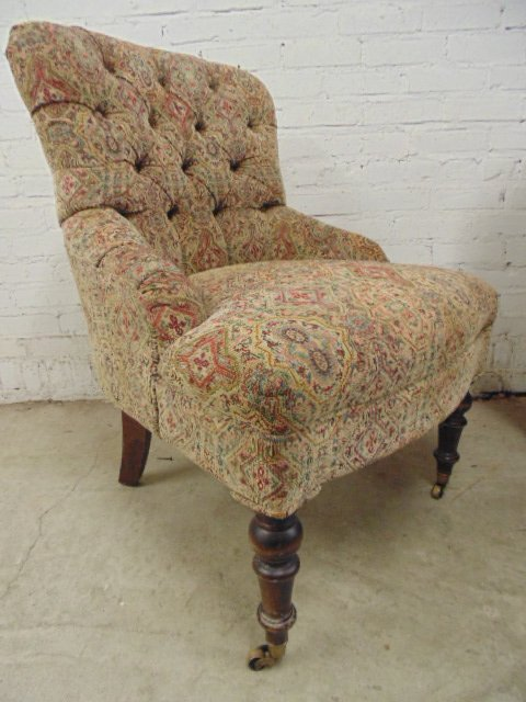Pair Victorian style tufted upholstered chairs - 3