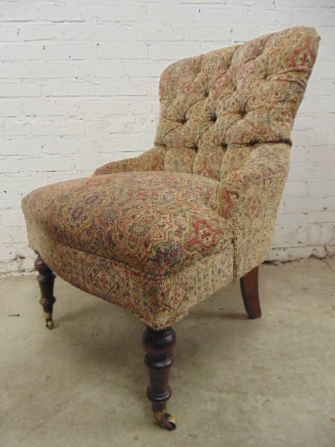 Pair Victorian style tufted upholstered chairs - 4