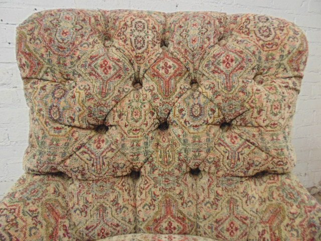 Pair Victorian style tufted upholstered chairs - 5