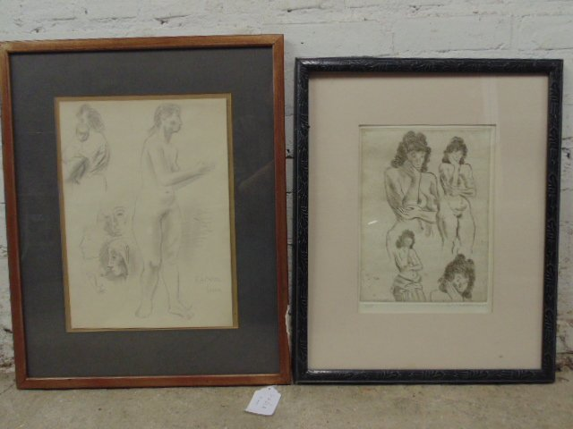 Raphael Soyer drawing & woodblock, study of nudes