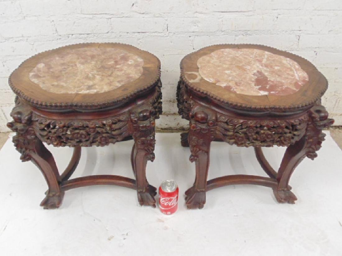 Pair carved Chinese plant stands