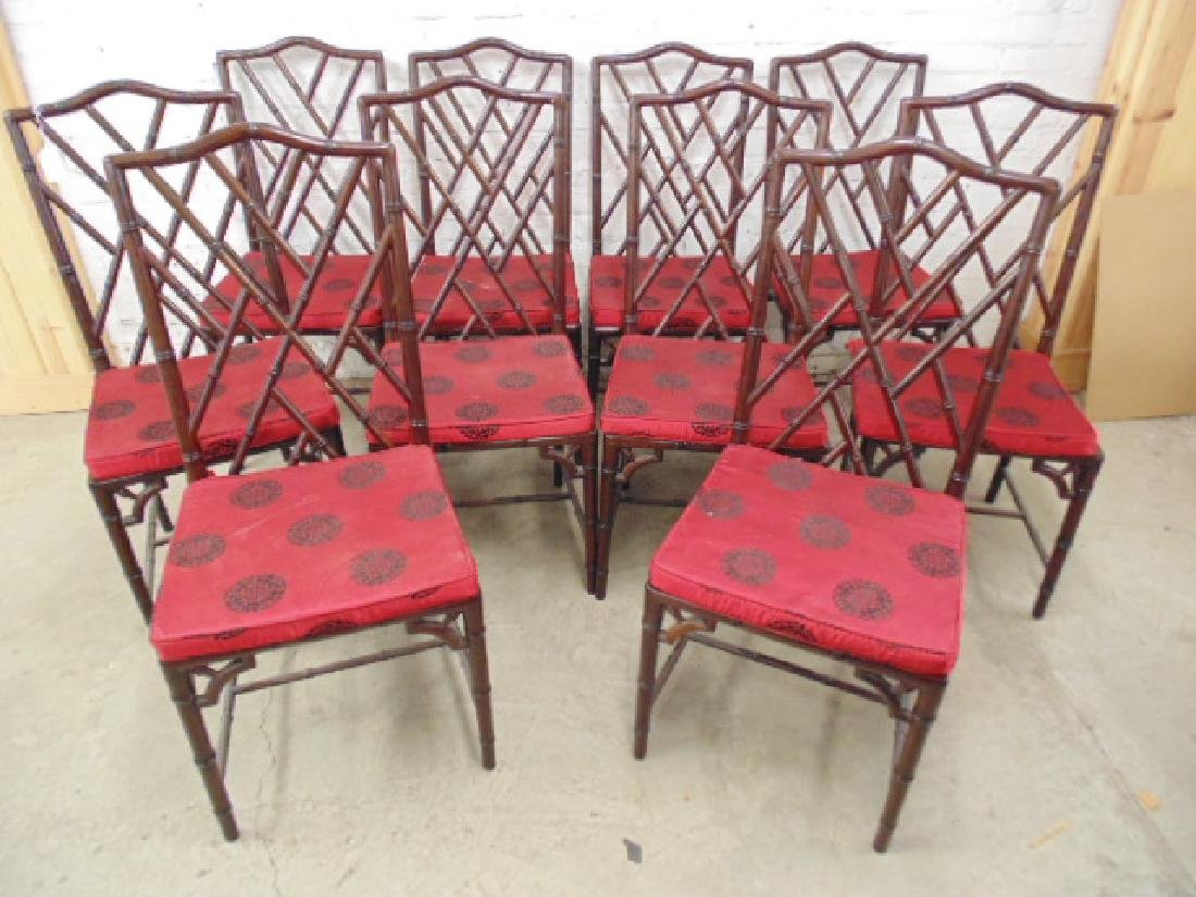 Set 10 Asian rosewood dining chairs