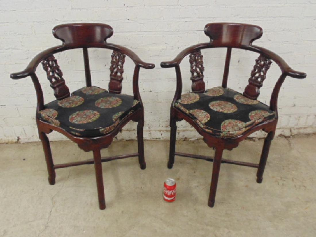 Pair Chinese rosewood Chippendale chairs