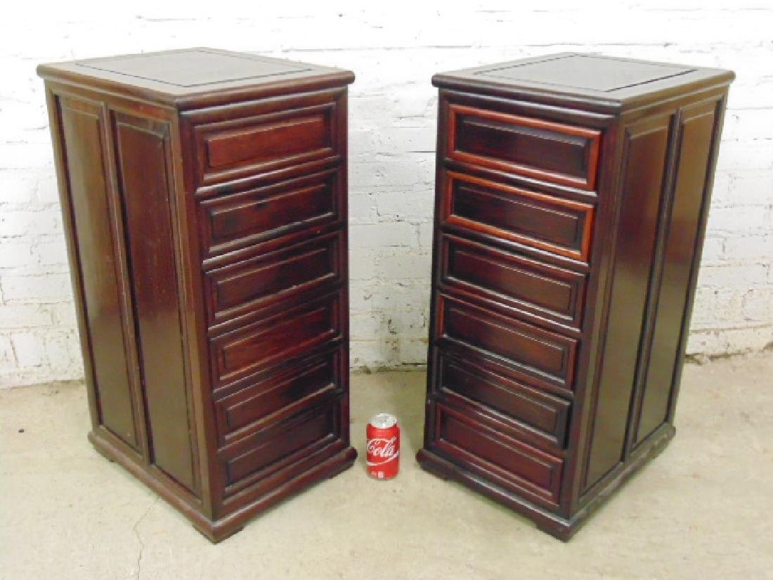 Pair Chinese rosewood cabinets with 6 drawers
