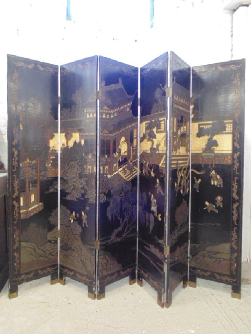 6 panel paint decorated Chinese screen