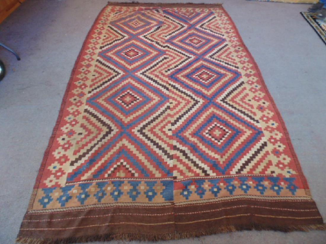 Flat weave rug, 2 panels sown together