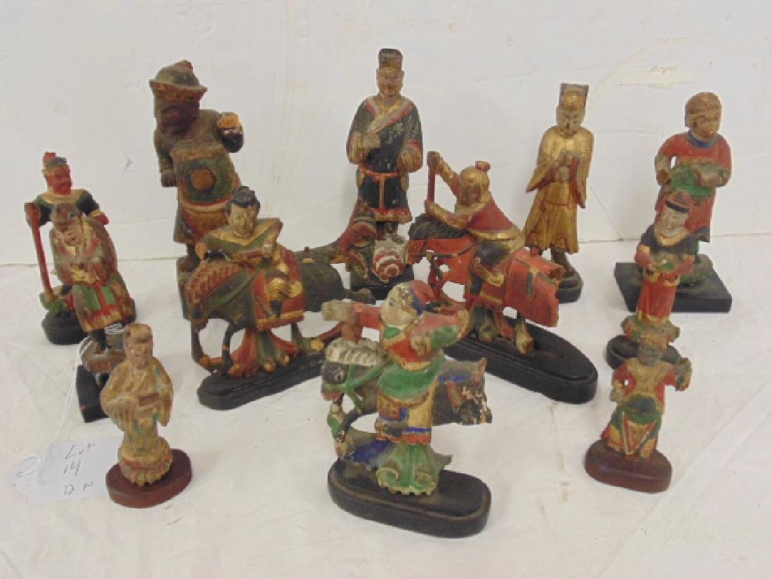 Lot 14 Chinese hand painted carved wood figures,