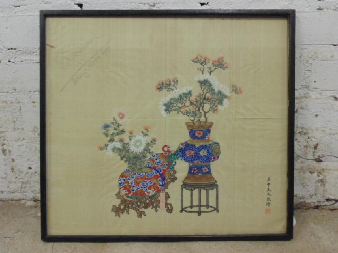 Asian, Chinese painting on silk, flowers