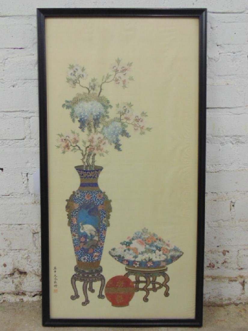 Asian, Chinese painting on silk, urns, flowers