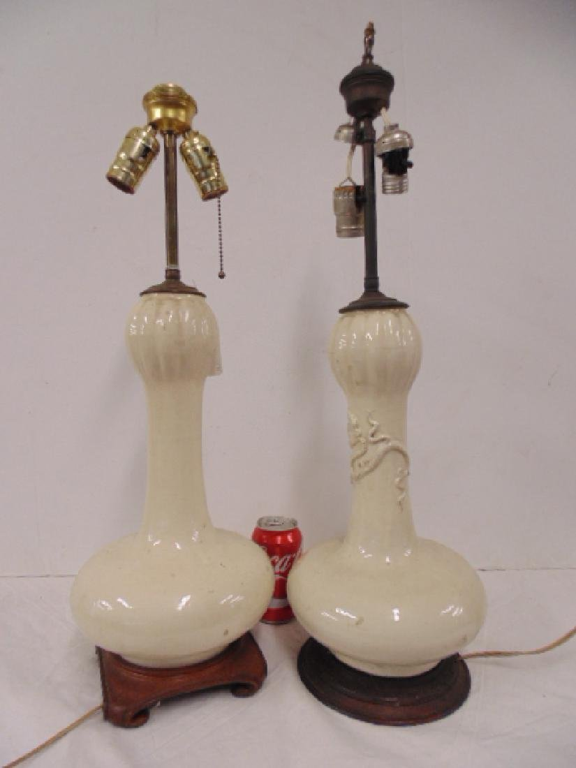 2 Chinese glazed table lamps