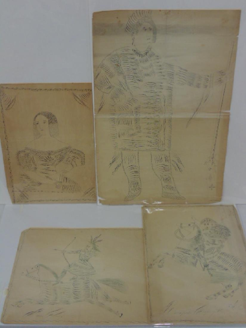 Lot 4 early 19th Century penmanship drawings