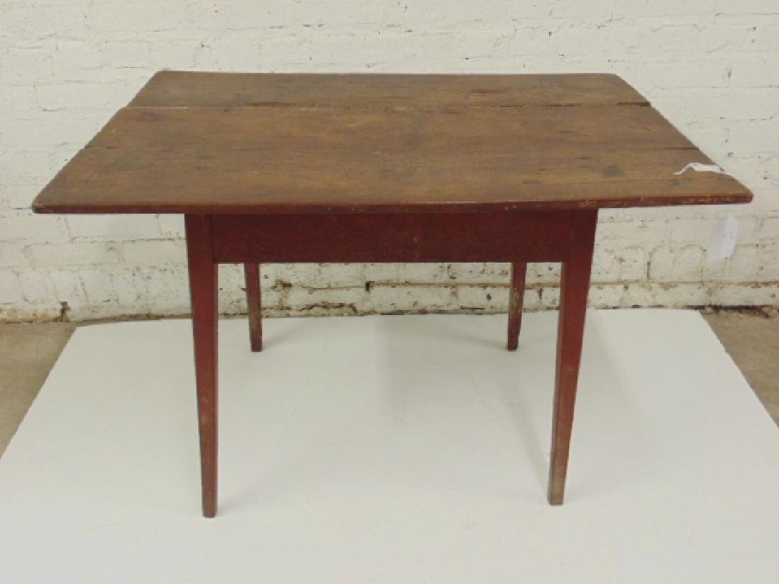 Antique country worktable, in red paint