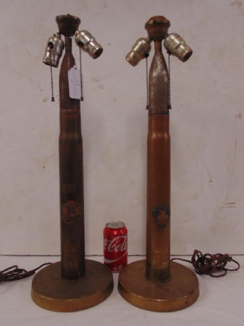 Pair bullet, shell art table lamps