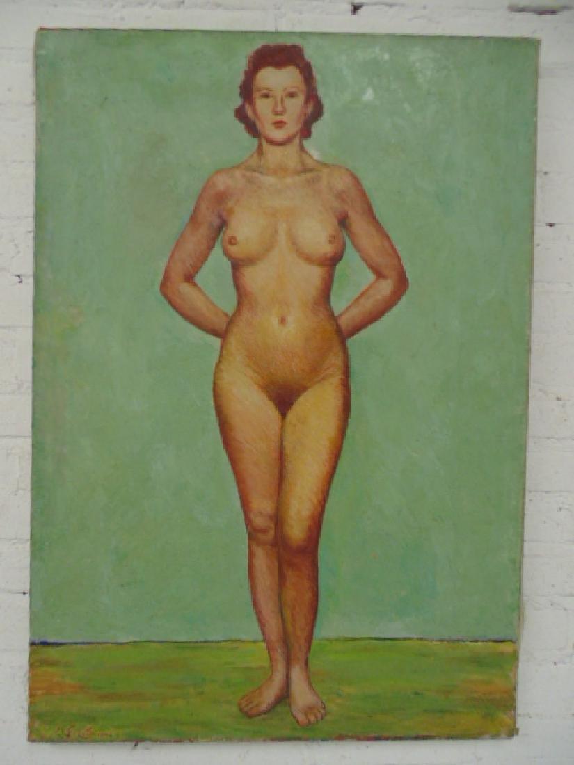 Painting, deco portrait of a woman, Chester La Follette