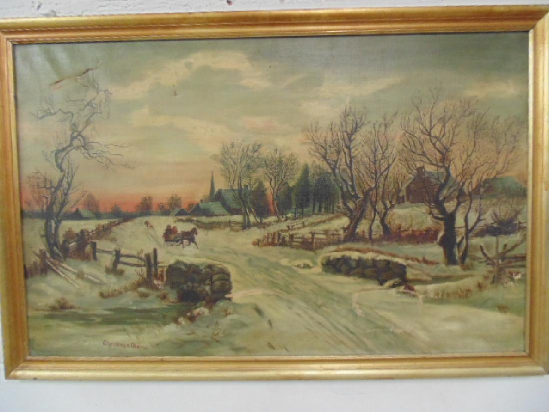"""Painting,  """"Christmas Morning"""",  by Great Grandma Myers"""