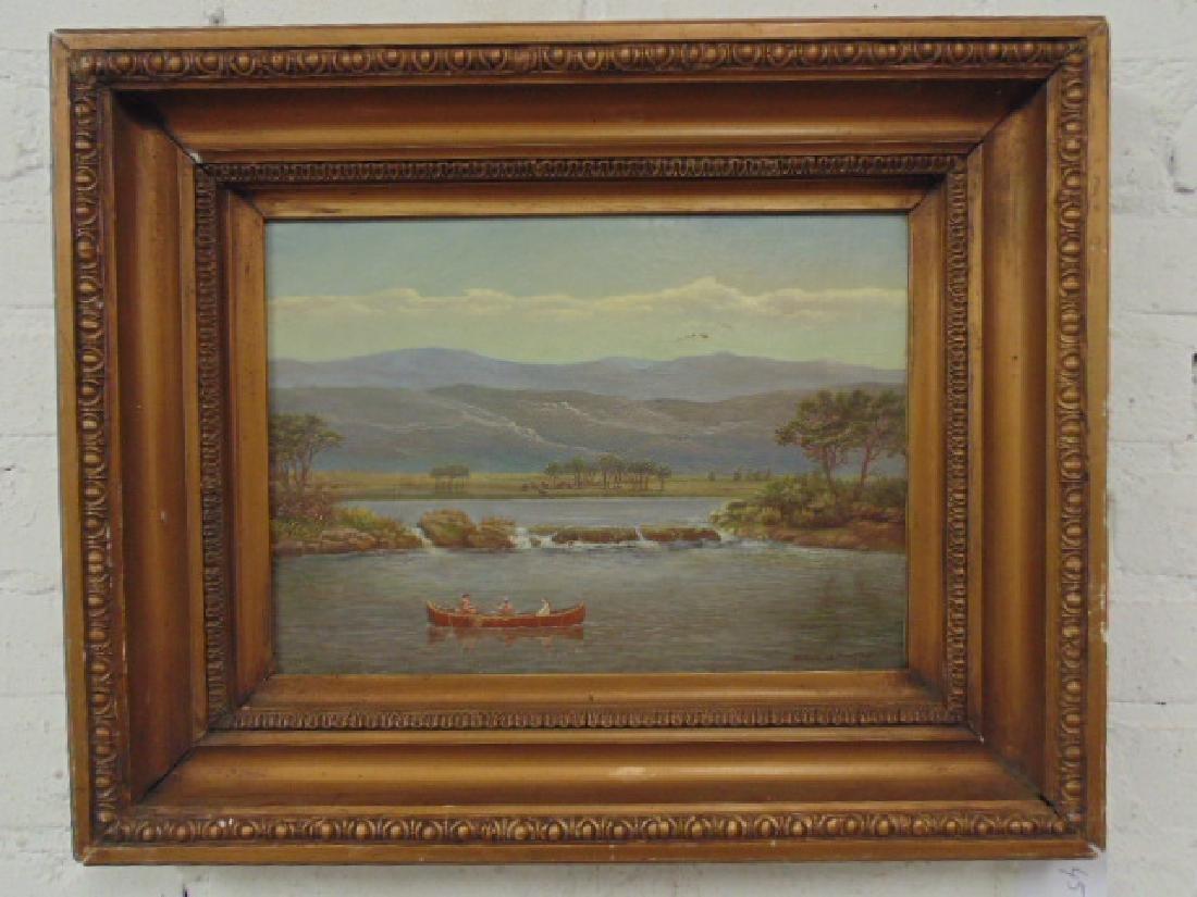 Painting, Indians in canoe, Albert Sz. Nemethy