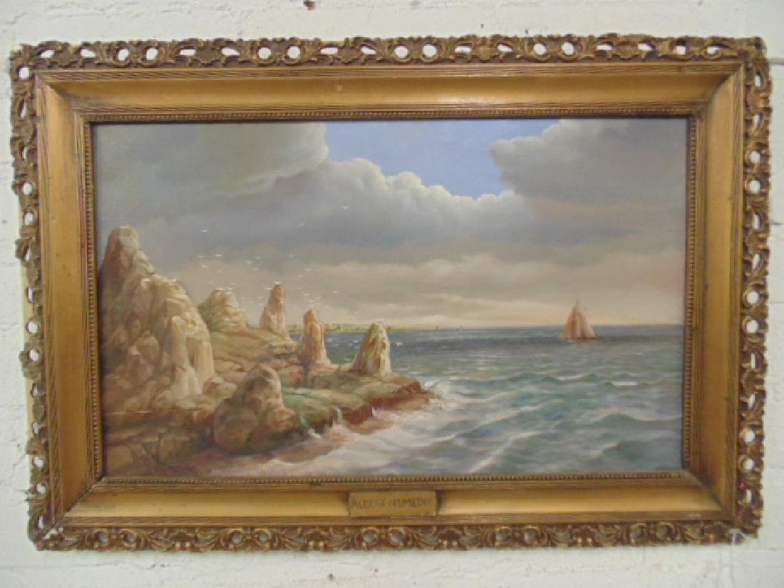 Painting, rocky coast line,  Albert S. Nemethy