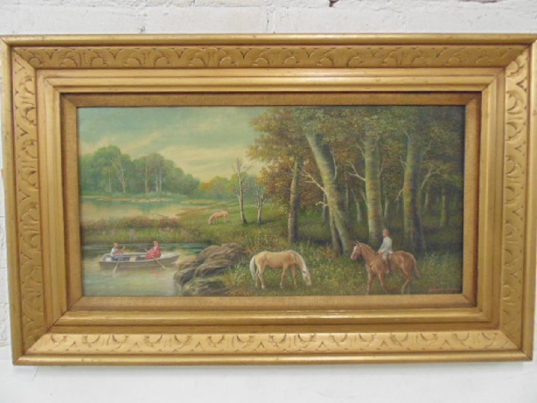 Painting, man & woman in rowboat, Albert Sz. Nemethy