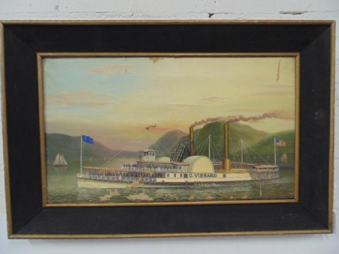 Painting, paddlewheel, Hudson River, Albert Sz. Nemethy