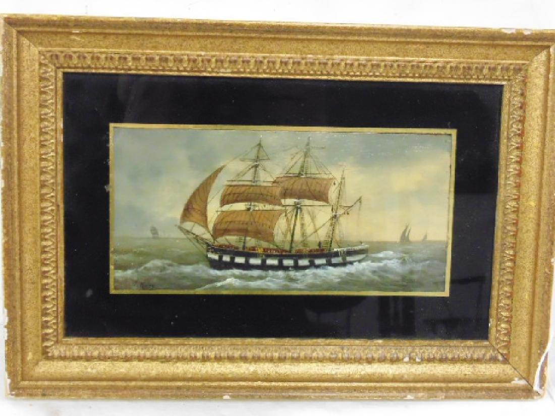 Oil on panel, sail ship, signed J. Mary (Josephine)