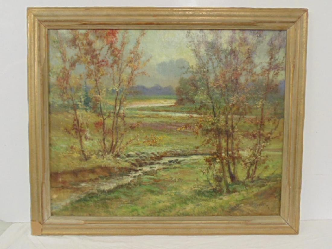 Painting,  landscape with stream,  Konlosy, 1934