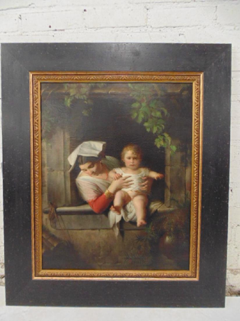 Painting, woman holding baby, unsigned