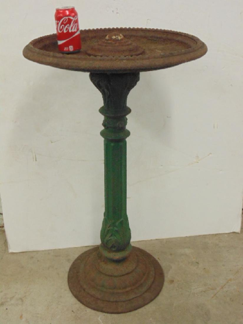 Cast iron bird bath, old green paint