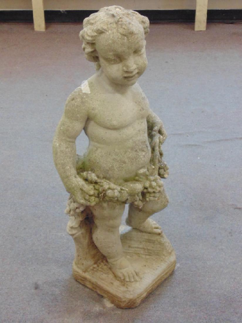 Figural cement garden statue cherub