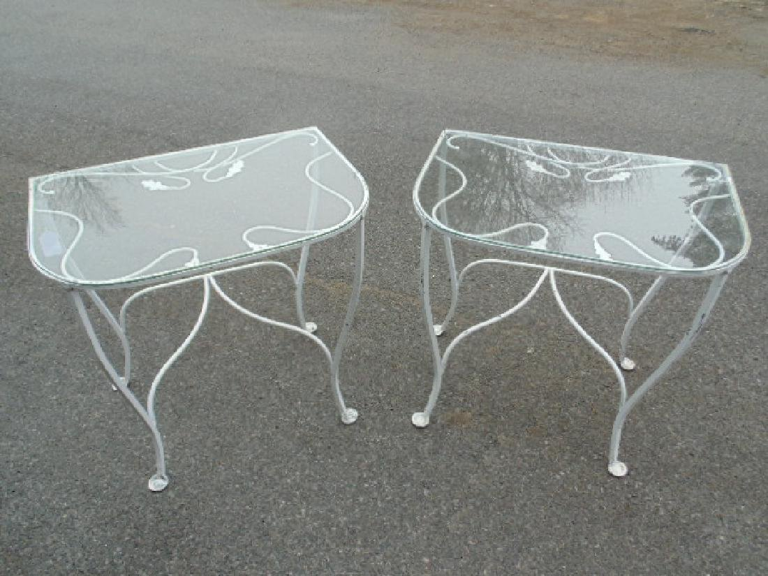 2 iron, glass top and, side tables, Salterini