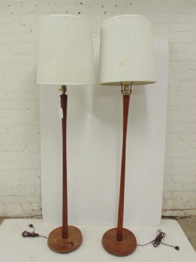 Pair mid Century teak floor lamps