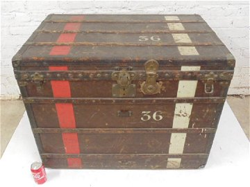 Vintage Louis Vuitton Strap Steamer Trunk