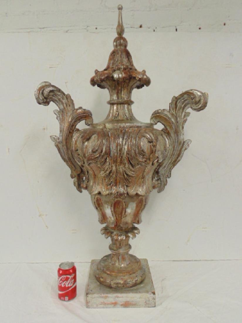 Large silver carved wood decorative urn shaped finial