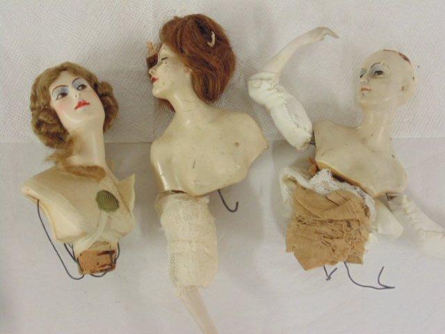 3 early German half dolls signed Lilli Baitz