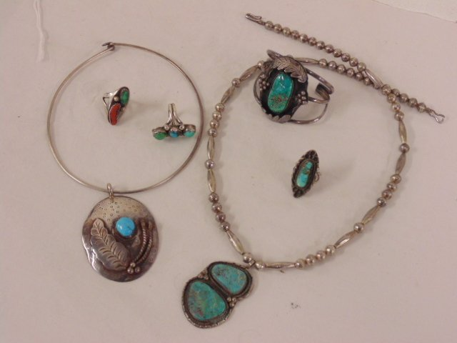 Lot sterling silver & turquoise jewelry, necklaces, etc