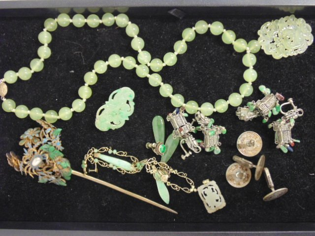 Lot of Jade & Chinese jewelry including jade necklace